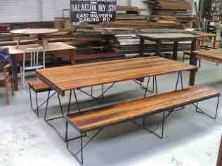 Recycled timber outdoor table and benches