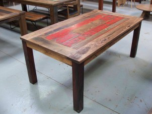 Recycled timber dining table with custom inlay