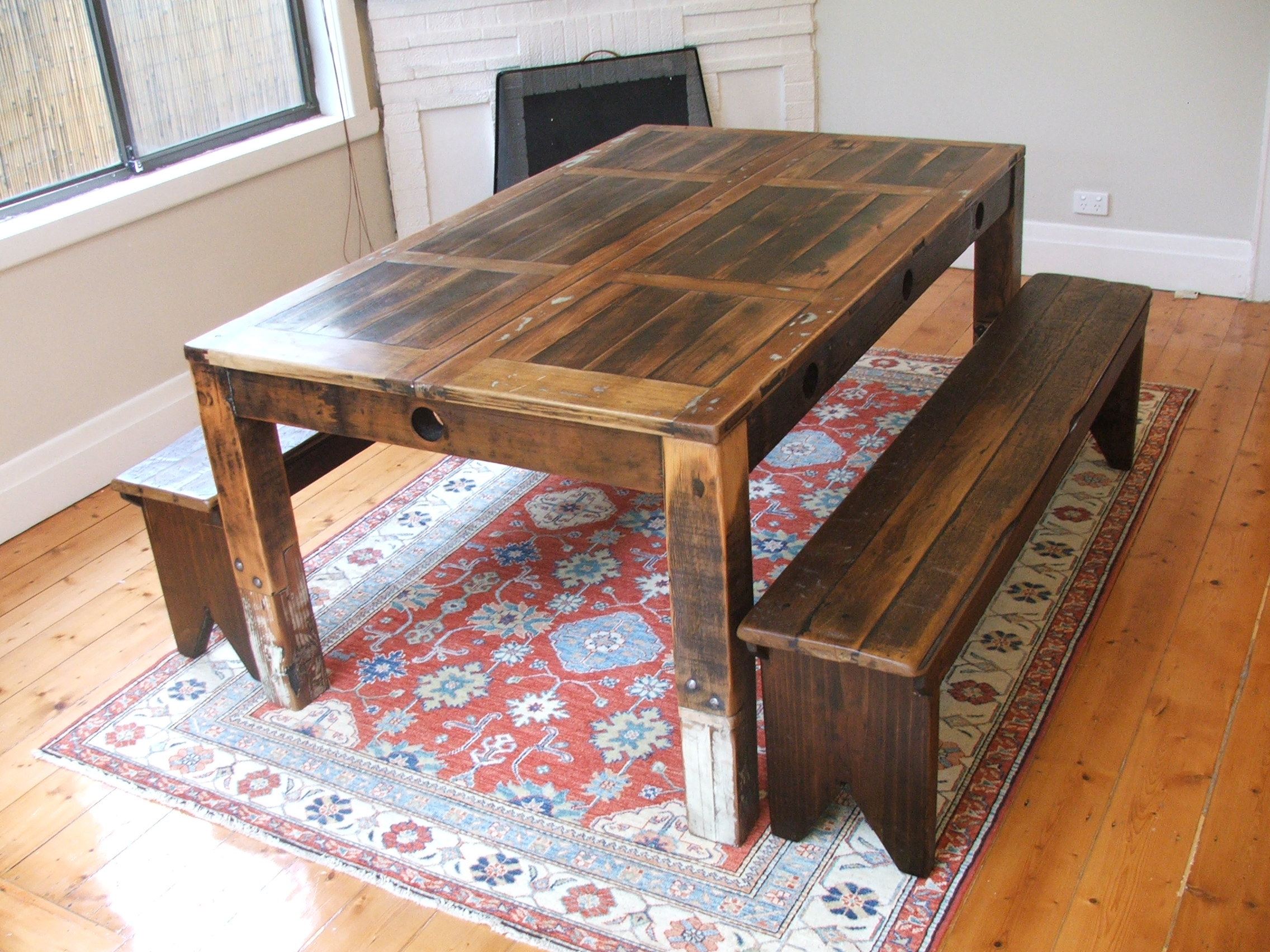 Recycled timber furniture posted tim t design for How to turn an old door into a table