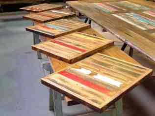 Recycled timber cafe table tops