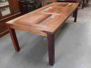 Triple panel recycled timber dining table