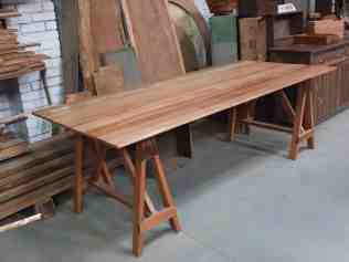 Recycled timber trestle table