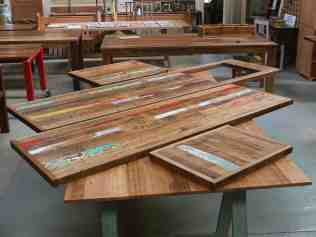 Recycled timber kitchen bench tops