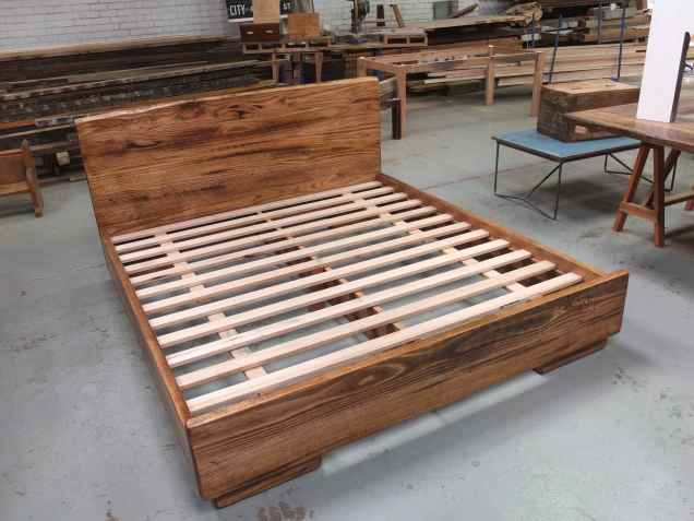 Recycled timber king sized bed