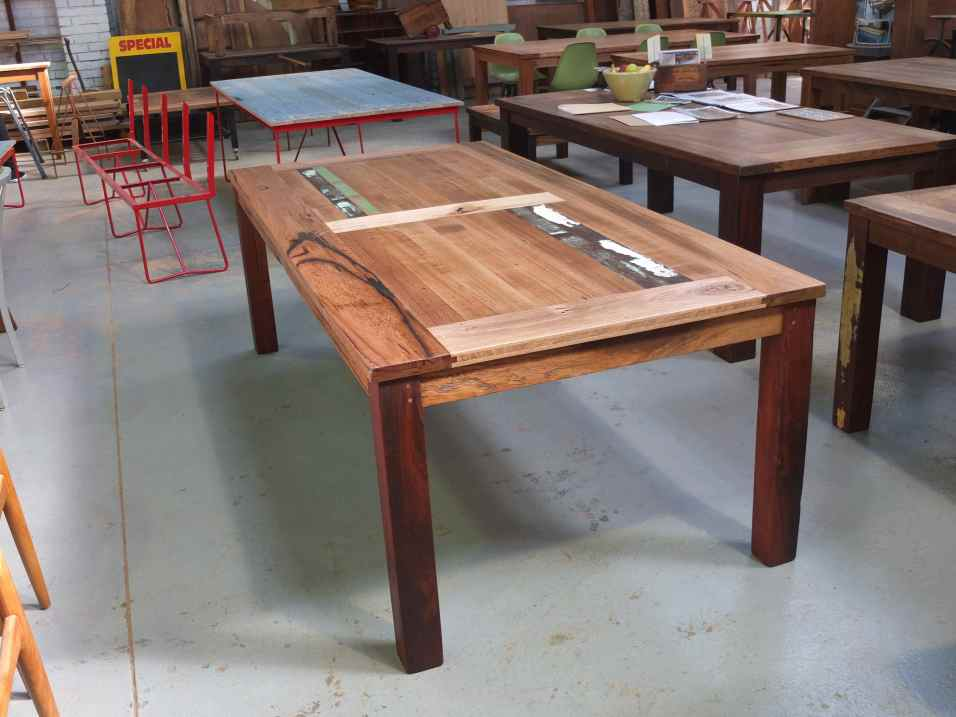 Double panel recycled timber dining table
