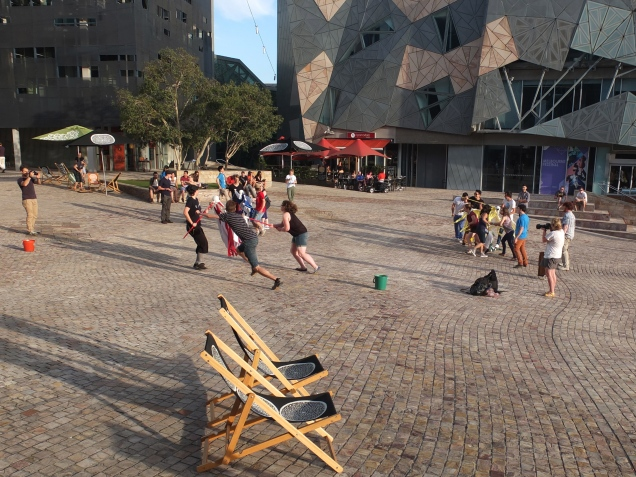 """Feed the Family"" game @ Fresh Air Festival, Fed Square"
