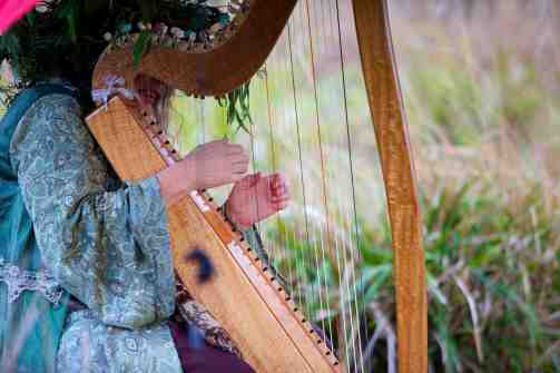 Shirley and her harp, photo credits: Mike Emmett, Redfish Bluefish Creative