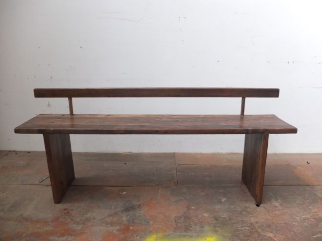 Recycled timber plank style bench seat with back rest