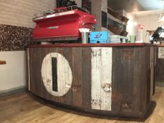 Recycled timber barista stand