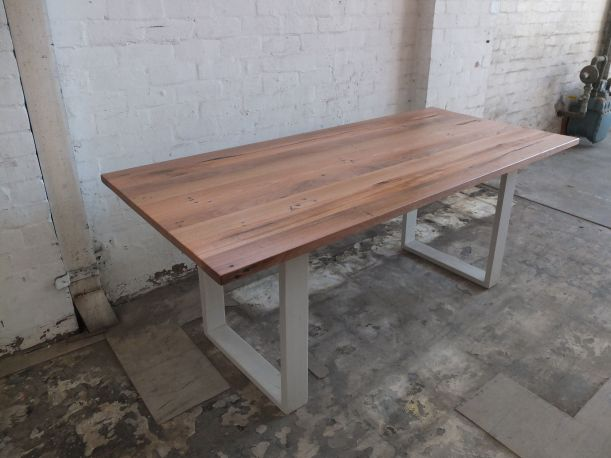 Reclaimed hardwood table with white timber box ends