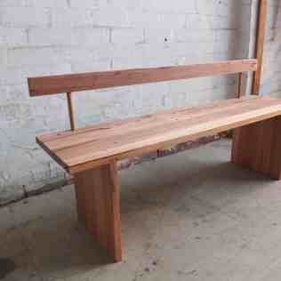 Hardwood bench with backrest
