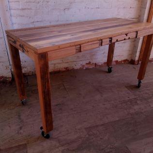 Rustic kitchen bench on castors