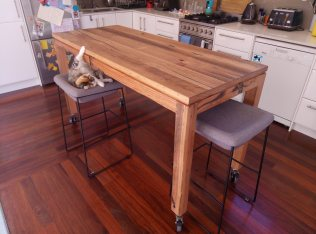 Rustic kitchen bench on castors